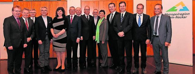 Die aktuelle Besetzung des ehrenamtlichen Vorstands im Verein Zukunft Metropolregion Rhein-Neckar (es fehlen: Bernhard Eitel, Peter Kurz).