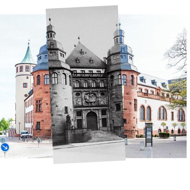 Collage der Museumsfront von 1912 und 2017.