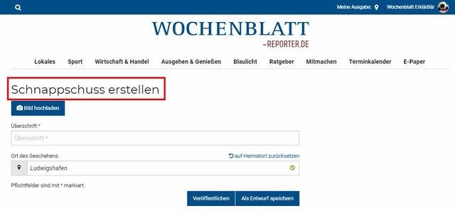 Nach einer kurzen kostenlosen Registrierung können Sie in wenigen Schritten selbst redaktionelle Beiträge einstellen, die Ihnen hier kurz erklärt werden. Sollten Sie noch Rückfragen haben, können Sie sich gerne an kontakt@wochenblatt-reporter.de wenden.