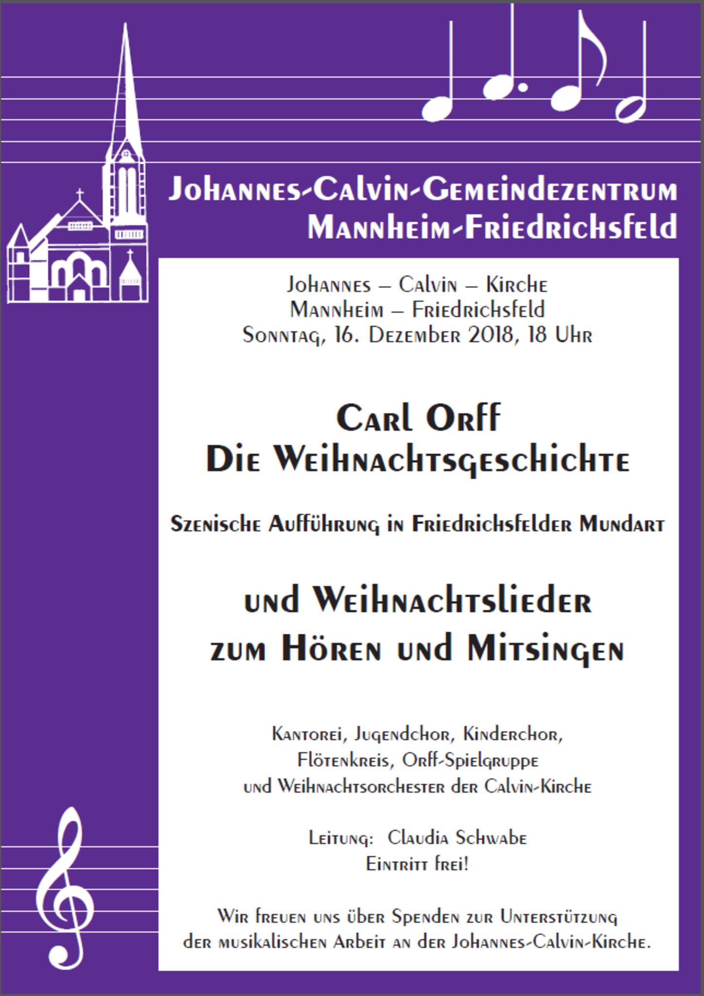 Kantorei der Calvin-Kirche Mannheim-Friedrichsfeld lädt ein: Die ...