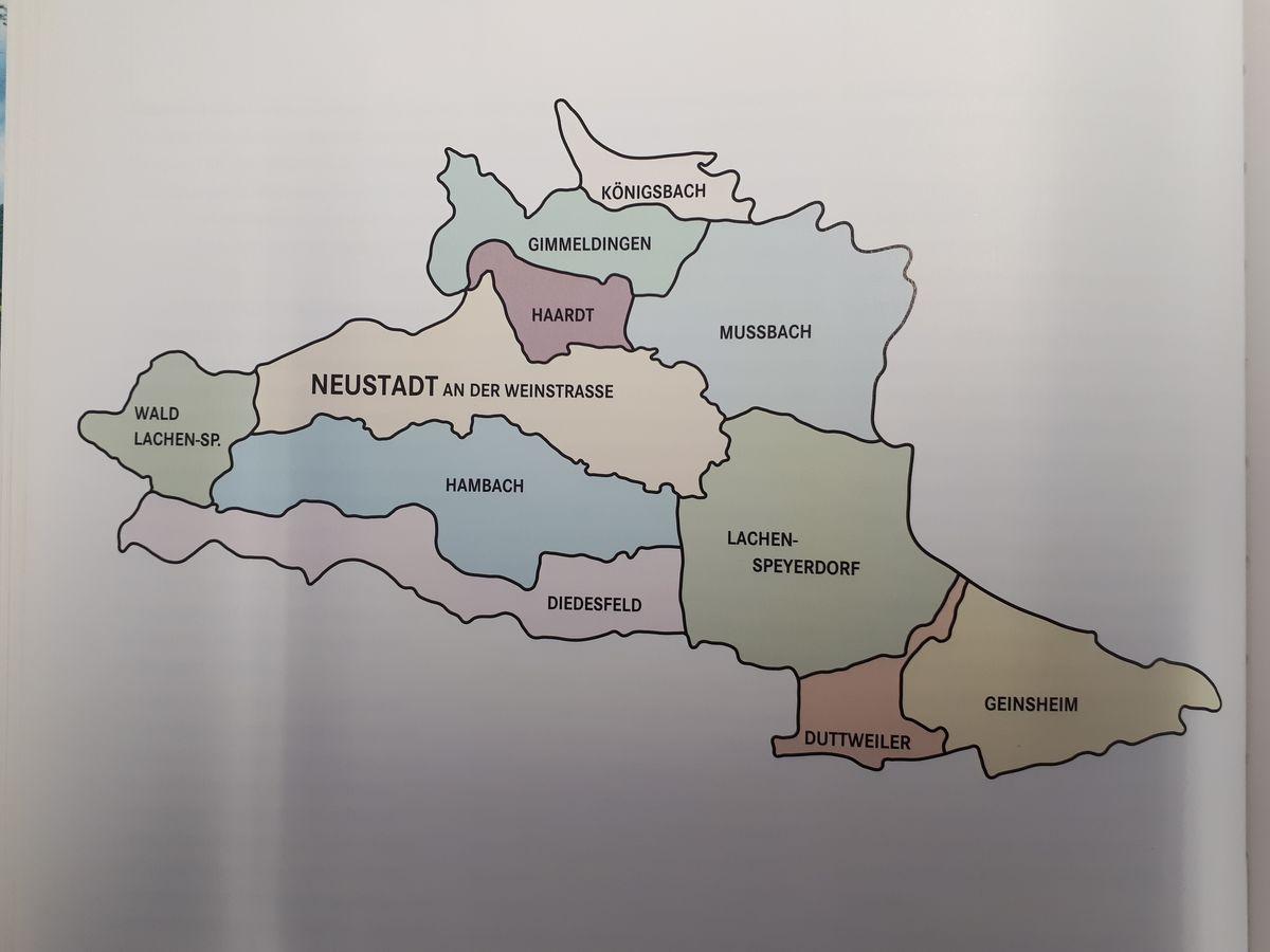 Zwischen 1969 und 1974 erfolgte teils unter Protesten die Zuordnung der neun umliegenden Weindörfern zur Kreisfreine Stadt Neustadt.