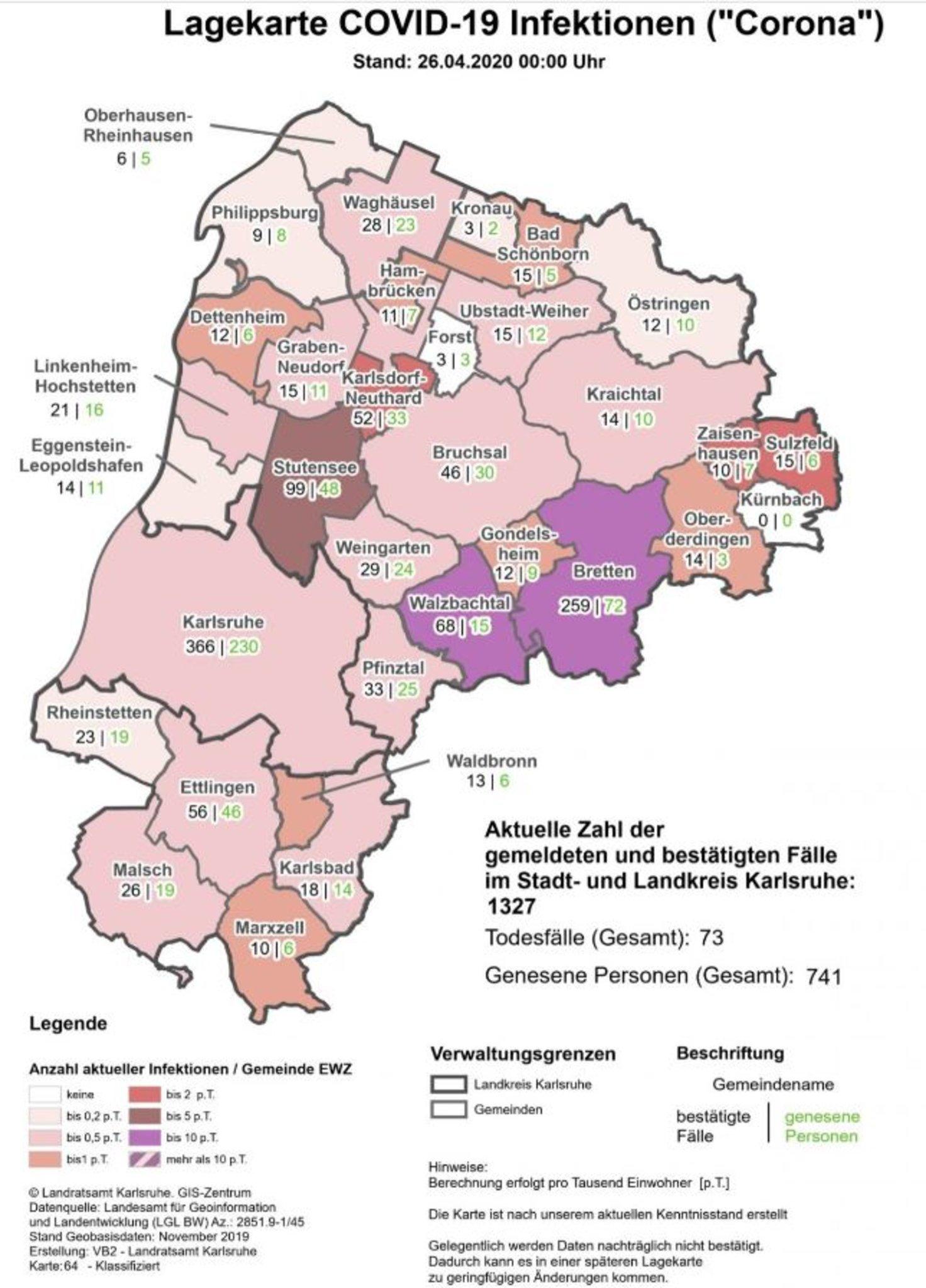 Corona Karlsruhe Karte